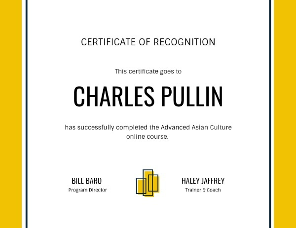 Yellow Certificate Of Recognition