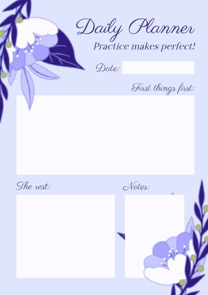 Purple Floral Daily Planner