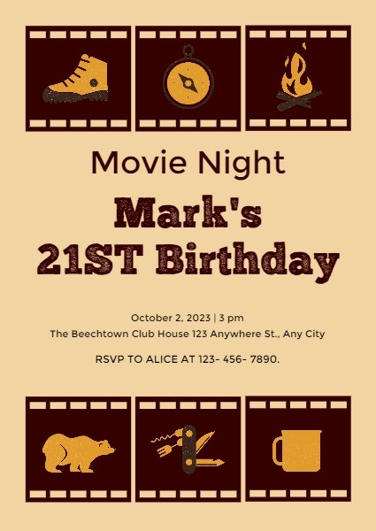 21st Birthday Party Invitation Card