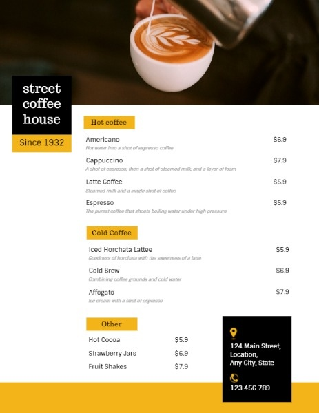 Simple White Coffee House Menu