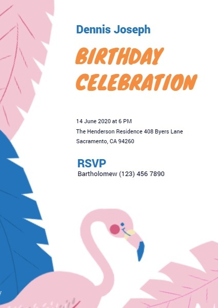 Birthday Celebration Invitation Card