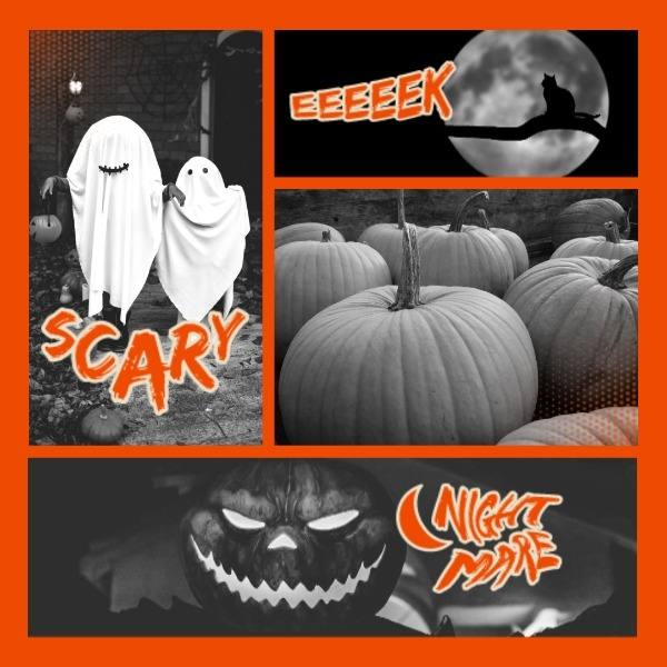 Scary Black Halloween Collage