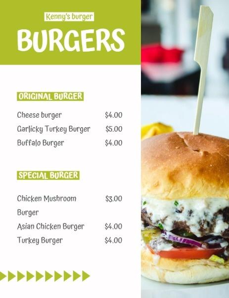 Burger Store Menu