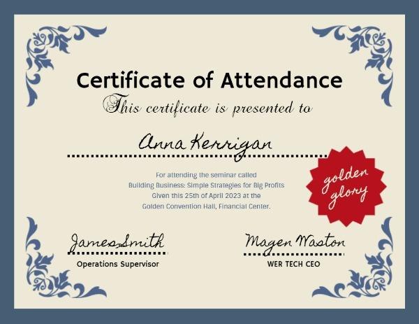 Retro Certificate Of Attendance