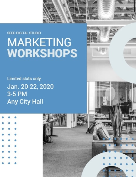 Blue And White Marketing Workshop Program