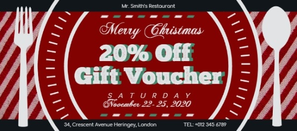 Red Restaurant Christmas Dinner Voucher