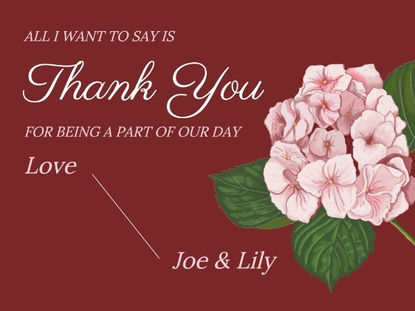 Pink Floral Wedding Thank You Card
