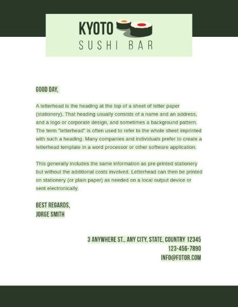 Green Sushi Bar Greeting Letter