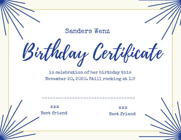 Blue Birthday Certificate