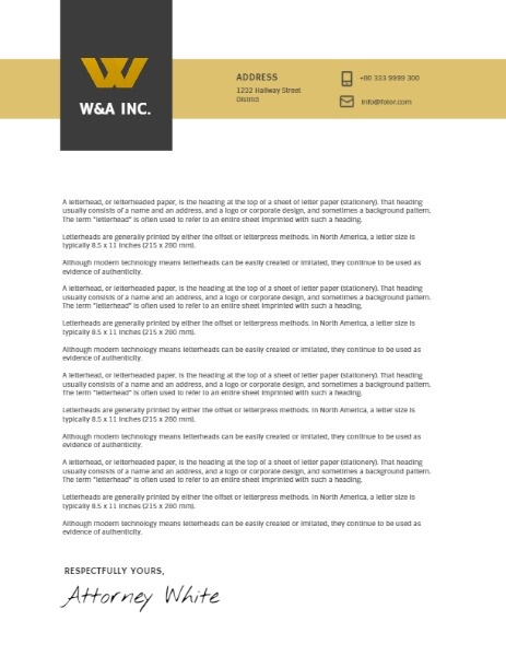 Trade Company Letter