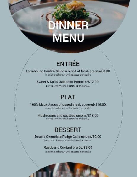 Traditional Dinner Menu