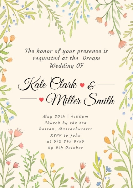 Yellow Watercolor Wedding Invitation