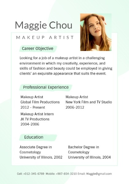 Online Makeup Artist Resume Template | Fotor Design Maker