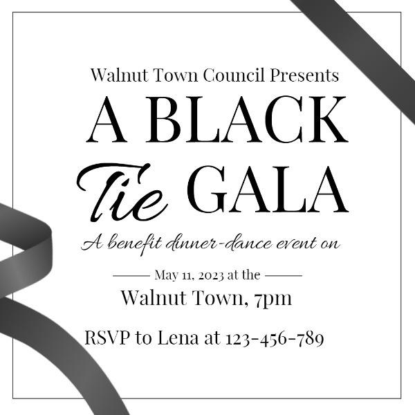 Simple Black And White Black Tie Gala