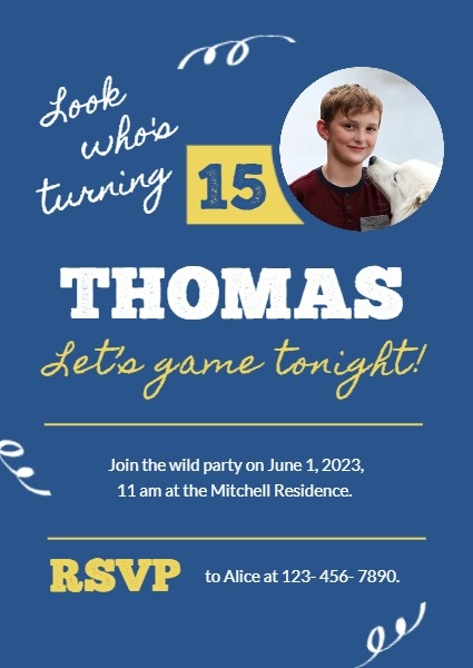 Blue Game Night Birthday Invitation