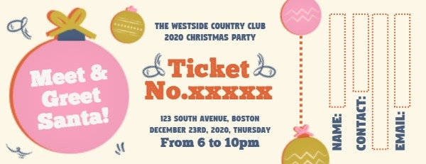 Cute Christmas Party Ticket