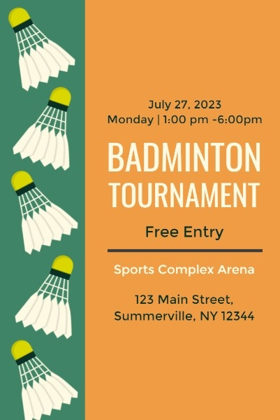 Badminton Tournament Poster