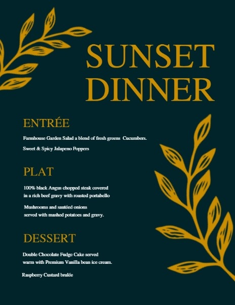 Sunset Dinner Menu