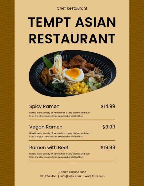 Brown Ramen MenuBrown Ramen Menu