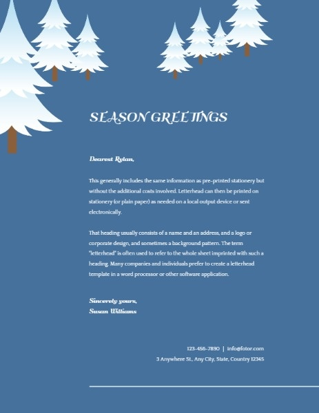 Blue Winter Christmas Tree Letter