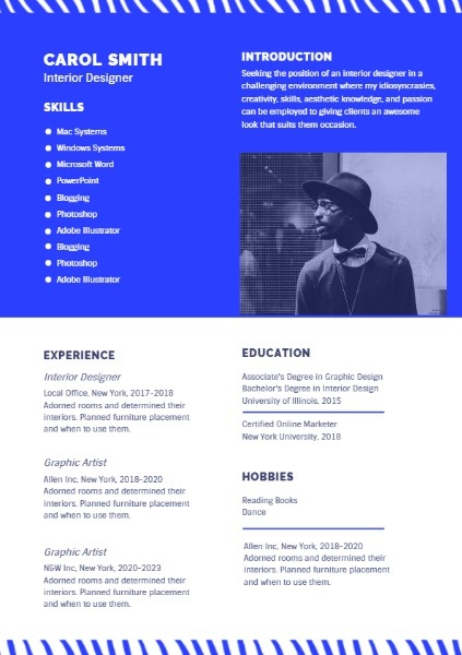 Blue And White Interior Designer Resume