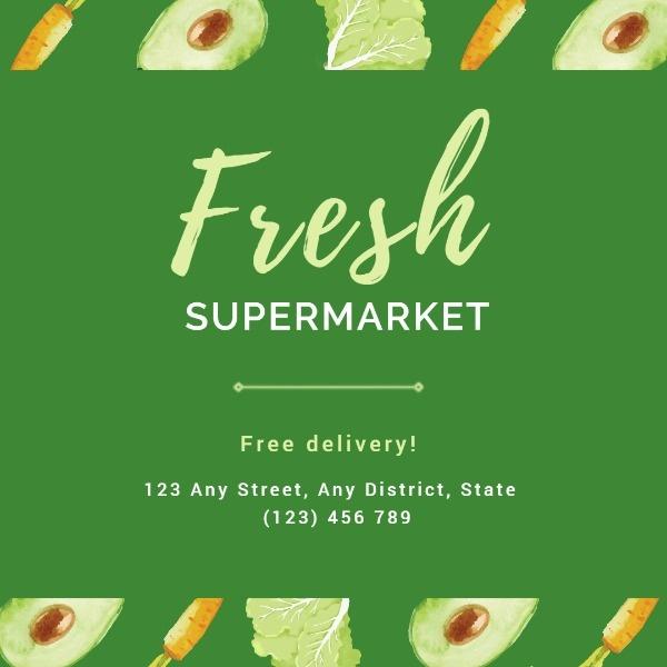 Green Fresh Supermarket Instagram Post