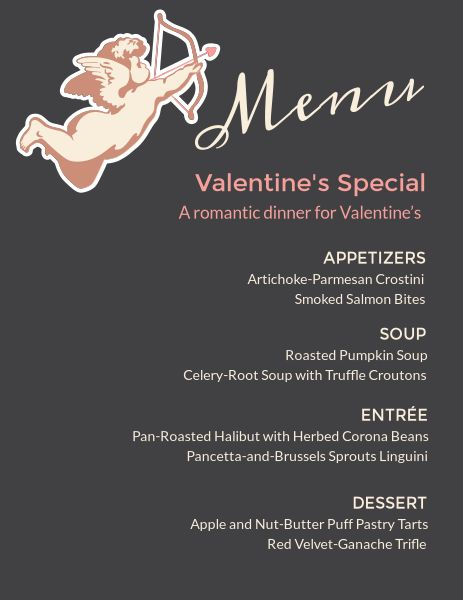 Black Valentine's Day Menu