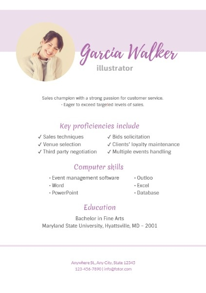 Illustrator Purple Art Resume