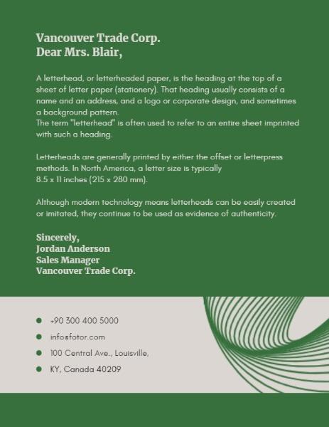 Green Company Letterhead