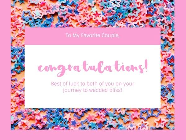 Pink Congratulations Friend Gift Card
