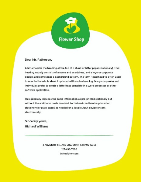 Yellow Green Flower Greeting Letter