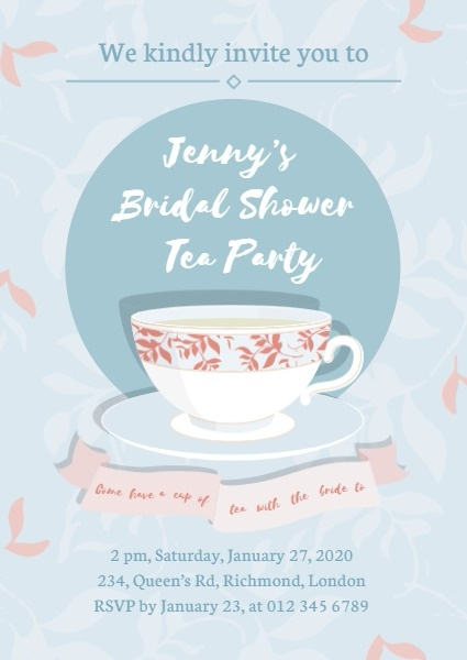 Online Bridal Shower Afternoon Tea Party Invitation Template