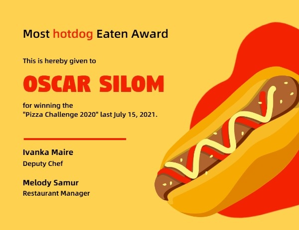 Yellow And Red Hot Dog Food Competition Award Certificate