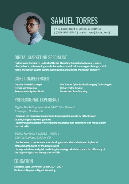 Online Digital Marketing Specialist Resume Template Fotor
