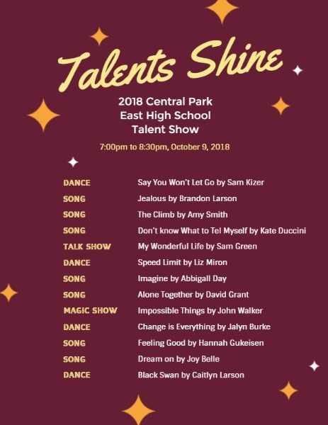 online talent show program template