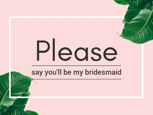 Simple Bridesmaid Invitation Card