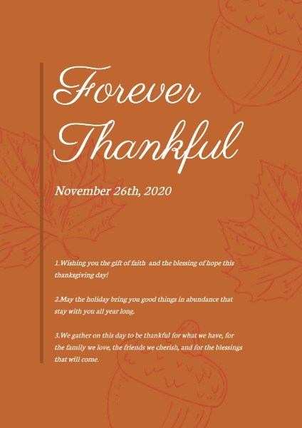 Orange Thanksgiving Wish Poster