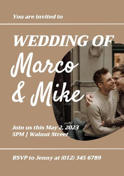 Brown Boys' Wedding Invitation