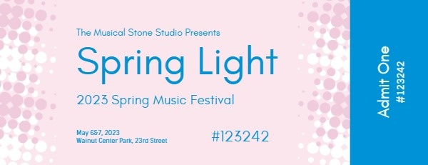 Pink And Blue Spring Music Festival Ticket