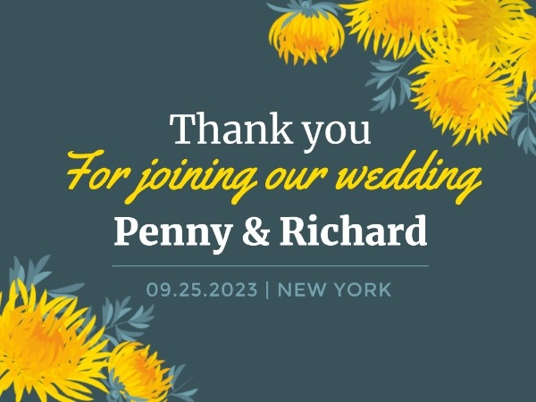 Green And Yellow Chrysanthemum Wedding Event Thank You Card