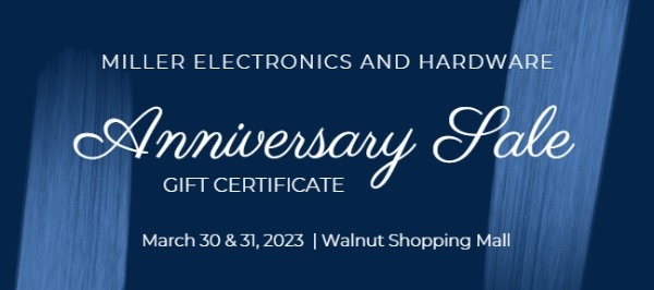 Dark Blue Brush Store Anniversary Sale Coupon