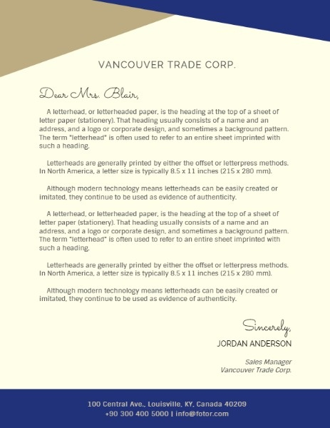 Simple Trade Company Letterhead
