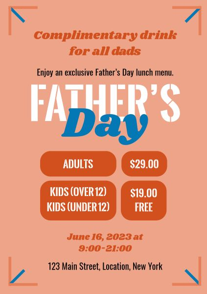 Orange Father's Day Restaurant Sale