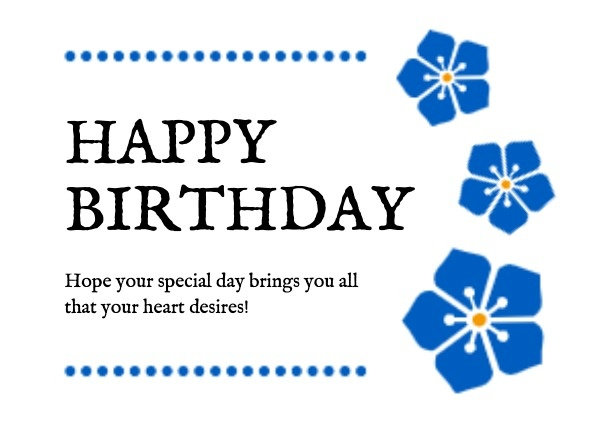 Blue Flower Birthday Greeting
