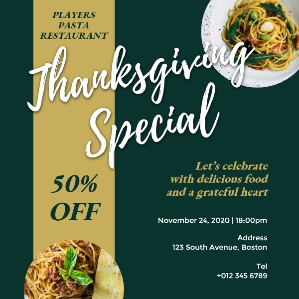 Thanksgiving Special Dishes Sale