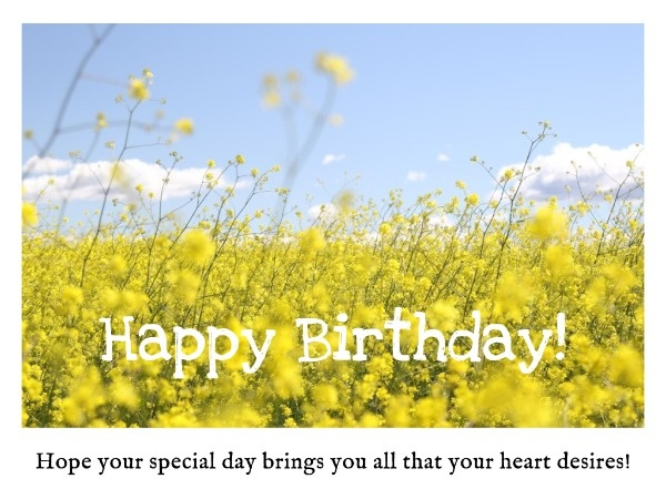 Yellow Sunflower Birthday Wishes Card