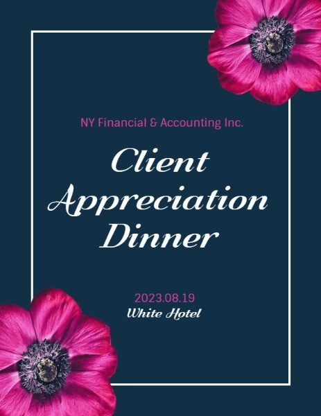 Pink Flower Blue Background Client Appreciation Party Program