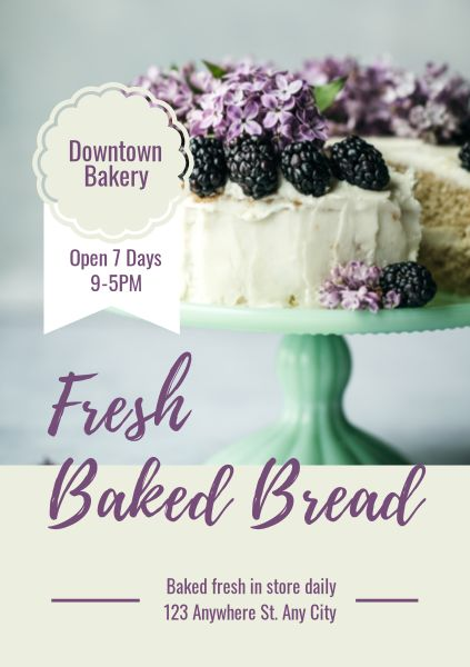 White And Purple Cake Store Flyer