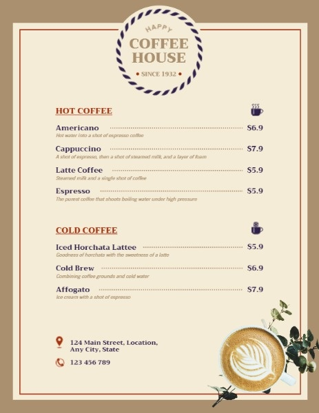 Vintage Coffee House Menu