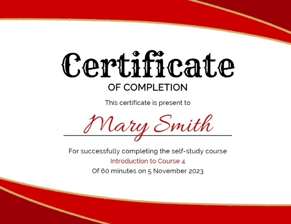 Red And White Certificate Of Completion